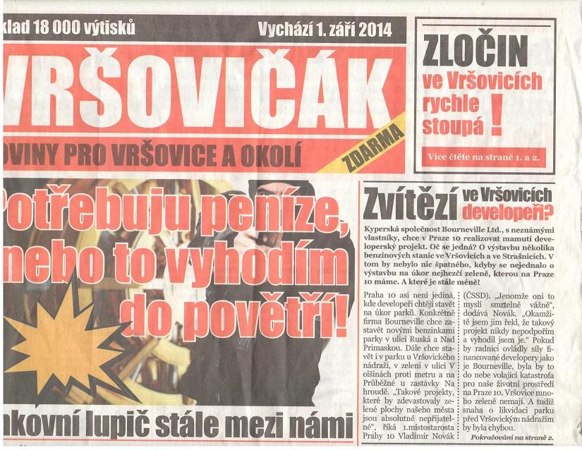Vršovičák - noviny bez redakce a tiráže